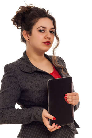 Confident business woman portrait with tablet isolated over a white  photo