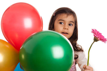 girl with balloons and flower on white background photo