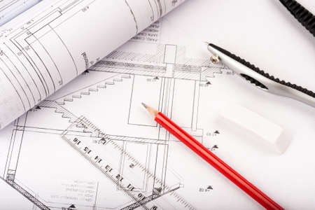 architectural blueprints, house plans with drawing tools photo