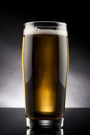 back lit glass of beer with reflection photo