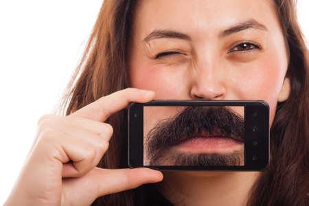 Portrait de femme avec un téléphone et de l'image d'une bouche mens Banque d'images - 32797002