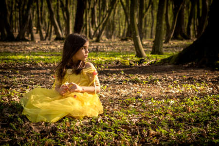 girl in the forest: little girl in yellow princess dress in forest Stock Photo