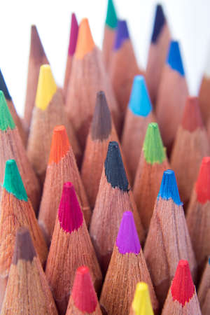 color palette: Assortment stack of colored wood drawing pencils