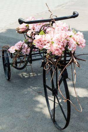 decorated bike: biciclette d'epoca decorativo retr� con fiori di colore