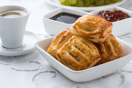 pastry: sweet puff pastry snack on breakfast table