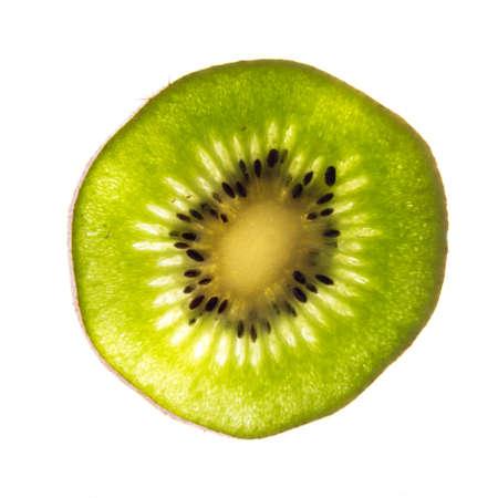 back lit fresh organic green kiwi slice