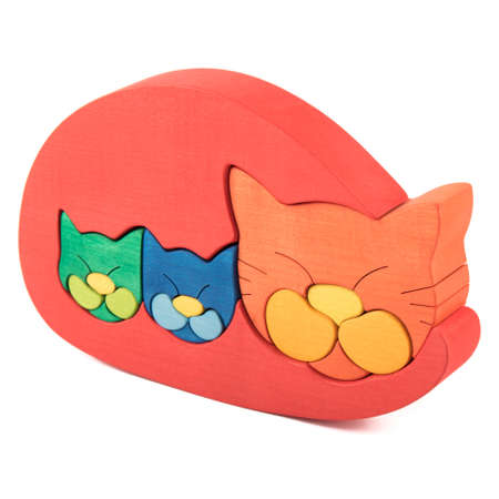 color wooden creative cat puzzle toy on white