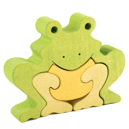 part frog: color creative frog wooden puzzle toy on white