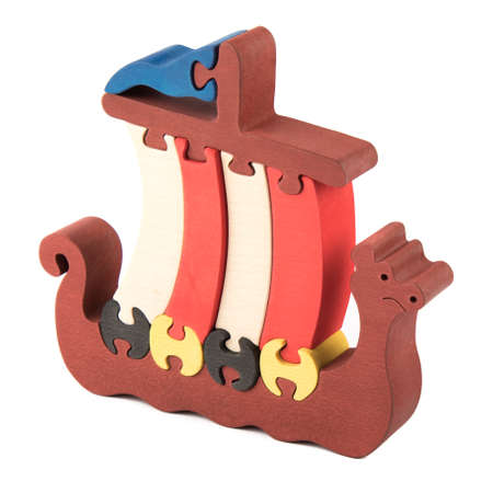 ship order: wooden creative color  ship puzzle on white