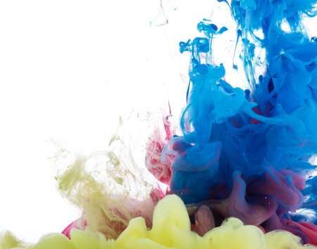 color in: Abstract acrylic paint color swirls in water on white background Foto de archivo