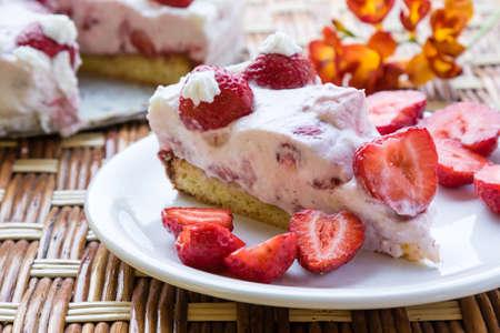 homemade fresh strawberry cake with whipped cream