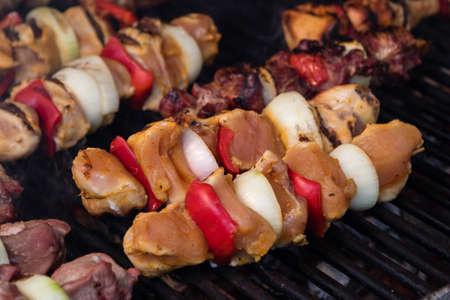 meat skewers: coal grill of meat skewers with vegetables