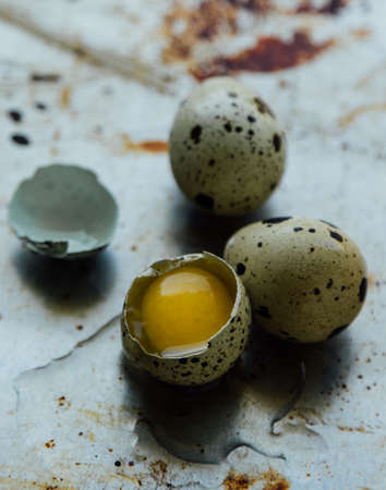 huevos de codorniz: close up of healthy small raw quail eggs Foto de archivo