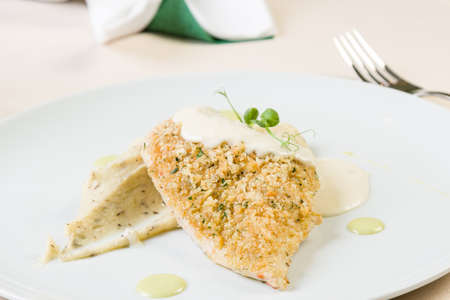 chicken breast with cheese sauce and truffled mashed potatoes