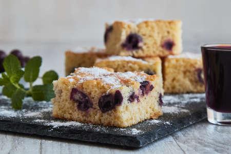 fresh tassty cherry fruit sponge cake with sugar Stock fotó