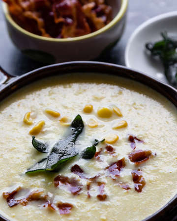 corn cream soup with bacon and sage
