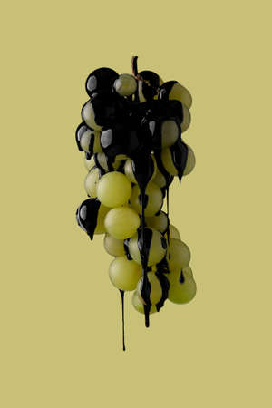 abstract image of black paint dripping on fruit Banco de Imagens