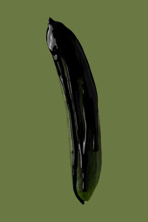 abstract image of black paint dripping on vegetable Banco de Imagens