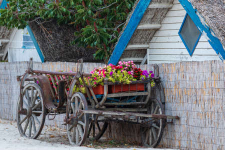 old vintage carriage with flowers
