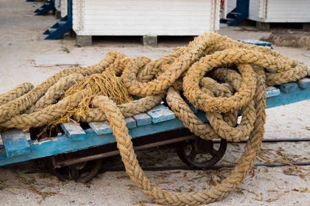 old used nautical ship rope Stockfoto