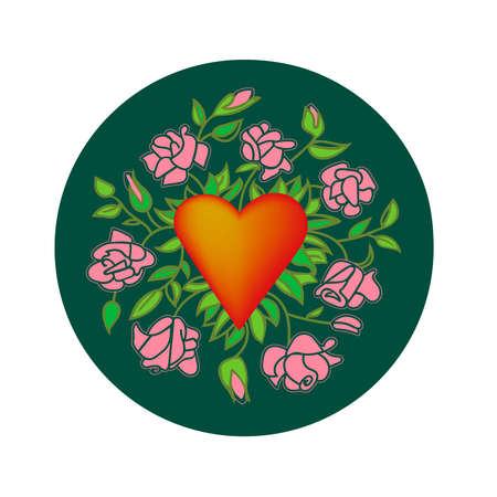 Heart in flowers Illustration