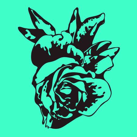 Black rose on green background