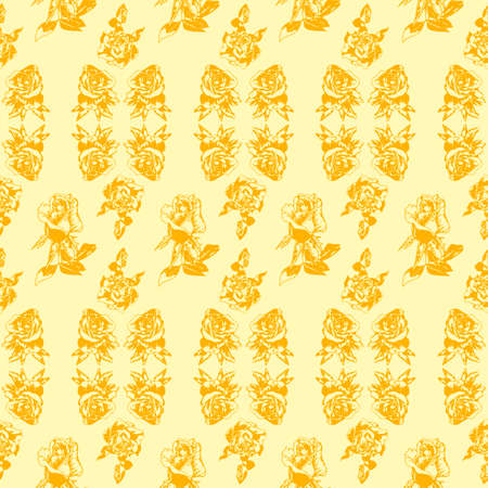 Sunny flowers. Yellow roses on a limon background. Pattern