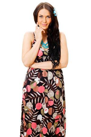 sundress: Young beautiful woman wearing colorful sundress isolated on white background