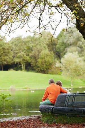 pensionary: Rear view of aged couple enjoying retirement, resting in park near pond Stock Photo