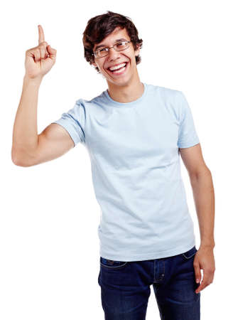 Young hispanic man wearing glasses, blue t-shirt and jeans showing up with his index finger and smiling isolated on white background - presentation concept Stock Photo