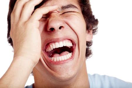 Hardop lachen jongeman gezicht close-up - lachen begrip