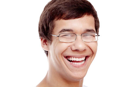 mouth smile: Close up portrait of young cheerful hispanic man wearing glasses smiling perfect healthy toothy smile isolated on white background - dentistry or ophthalmology concept Stock Photo