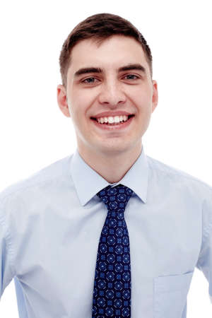 formal shirt: Front portrait of young smiling man wearing blue formal shirt with tie isolated on white background - business concept