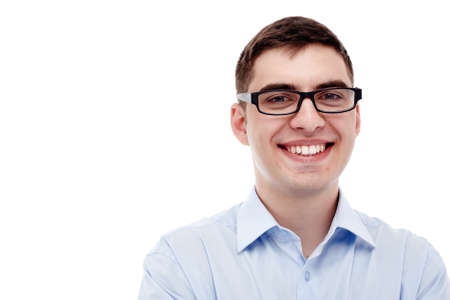 open collar: Front portrait of young smiling man wearing black glasses and blue formal shirt with open collar isolated on white background - business concept