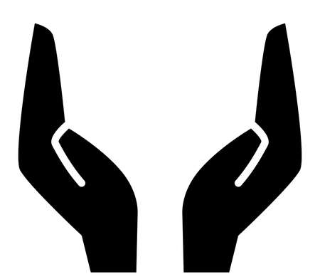 Icon of two supporting hands in black silhouette illustration.