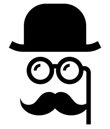 Vector icon of mustache man in retro hat and with lorgnette