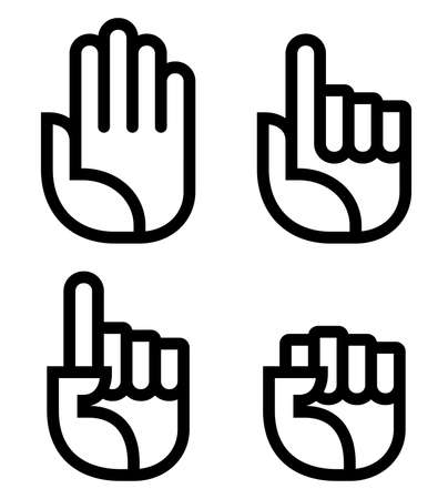 Open palm, raised index fingers and fist vector icons