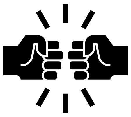 Ícone de vetor de dois punhos batendo juntos Ilustración de vector