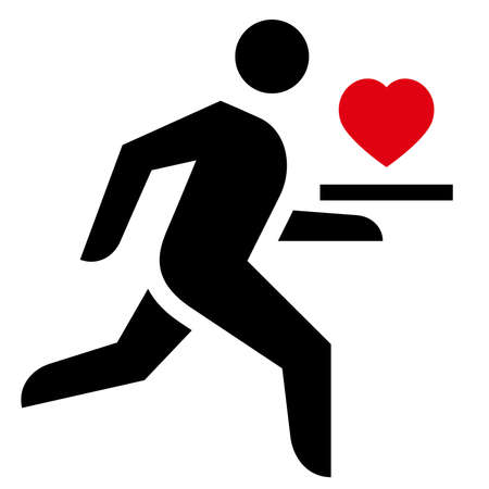 Vector icon of waiter running with heart on platter in his hand