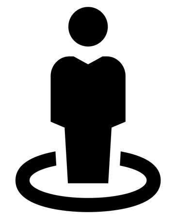 Vector icon of man standing in circle Illustration