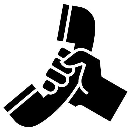 Vector icon of hand holding telephone receiver