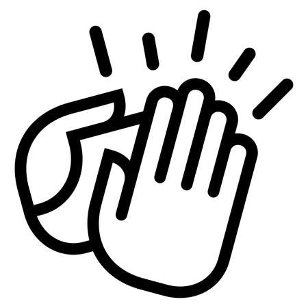 Vector icon of clapping hands with motion lines around them