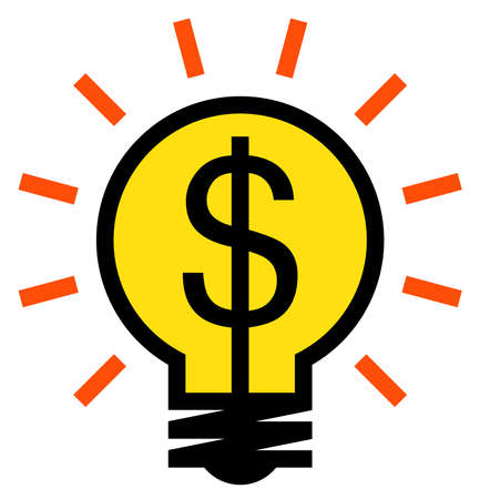 Vector icon of shining light bulb with dollar sign inside Vettoriali