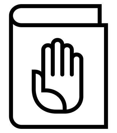 Vector icon of closed book with hand on cover