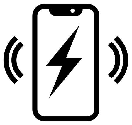 Vector icon of wireless signal going from smartphone with lightning on screen Illustration