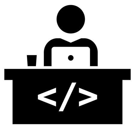 Une icône de vecteur du développeur de logiciels mâle travaillant sur un ordinateur portable assis à table avec signe de code Banque d'images - 92347037