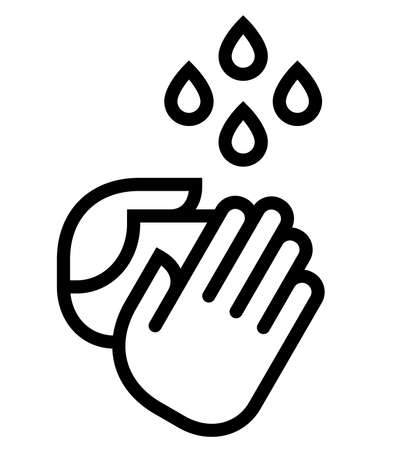 Vector icon of two hands under water drops.