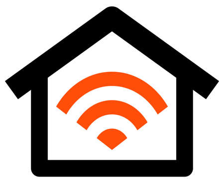 Vector icon of house with Wireless network  signal sign inside