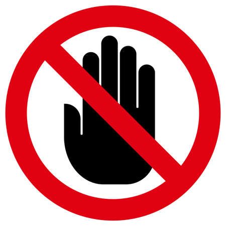 Prohibitory sign with hand inside