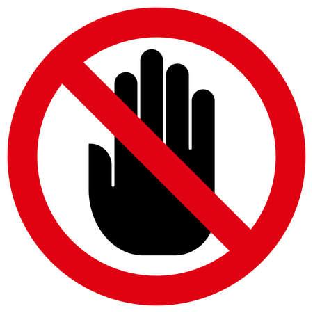 Znak zakazu z ręką w środku